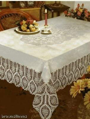 "New Crochet Vinyl Lace Tablecloth, 60"" wide X 90"" long Oblong, Bone Beige"
