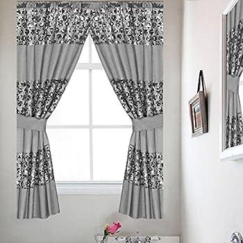 Gray Bathroom Window Curtains | Amazon Com Popular Bath Sinatra Silver Window Curtain Home