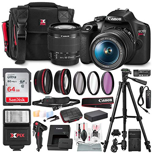 Canon T7 EOS Rebel DSLR Camera with EF-S 18-55mm f/3.5-5.6 is II Lens and UV Filter Set + Battery Power Kit & 64GB SD Card Deluxe Accessory Bundle (Best Wifi Dslr Camera 2019)