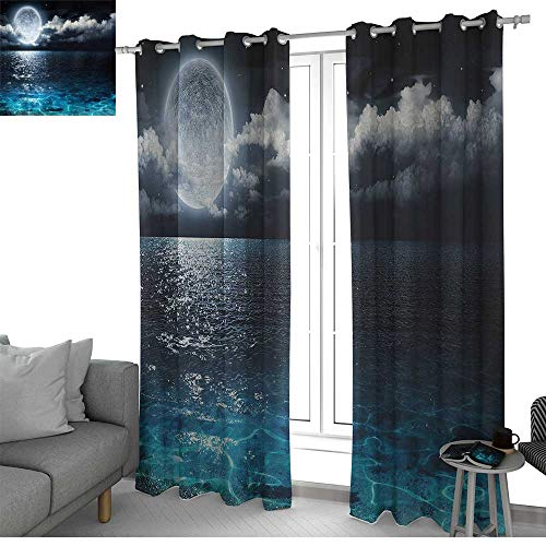 (NUOMANAN Decorative Curtains for Living Room Night Sky,Full Moon and Foggy Clouds with Turquoise Glass Like Sea Ocean Print,Dark Blue and White,Blackout Draperies for Bedroom 84