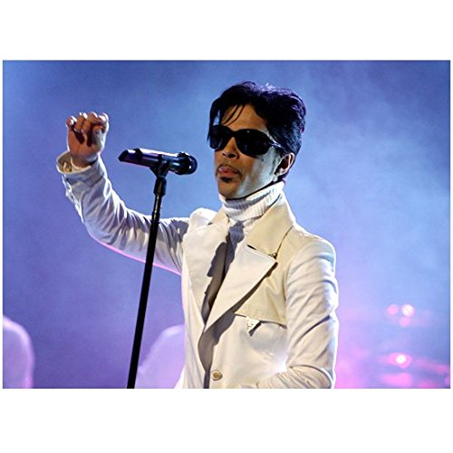 Prince 11 Inch x 14 Inch Photo Singer Soundtracks for Batman Happy Feet Showgirls Purple Rain Sunglasses White Suit Over White Turtleneck - Sunglasses Singer