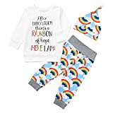 Clearance Sale Baby Clothes Set 3 Pcs Set Long Sleeves Letter T-Shirt Tops Rainbow Pants Hat Outfit Clothing