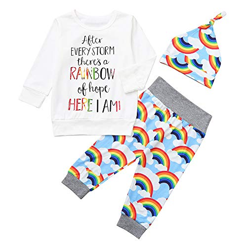 Toddler Baby Girls Boys 3Pcs Clothes Sets for 0-24 Months,Lovely Letter Rainbow Printed Romper Tops Pants Hat Outfits Set (18-24 Months, White)