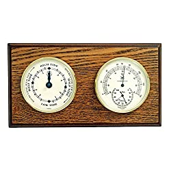 Kensington Row Coastal Collection WEATHER STATIONS -CAPE MAY TIDE CLOCK & THERMOMETER/HYGROMETER ON OAK BASE