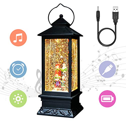 Eldnacele Christmas Musical Snow Globe Lantern Plug in & Battery Operated Glitter Lamp Navitity Scene Lighted Lantern with 6 Hour for Christmas Decoration 12 Inches (Carolers)