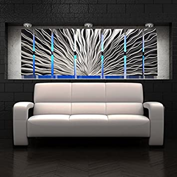 U0026quot;Vibration, LEDu0026quot; Color Changing LED Lighted Metal Wall Art Modern  Abstract Sculpture