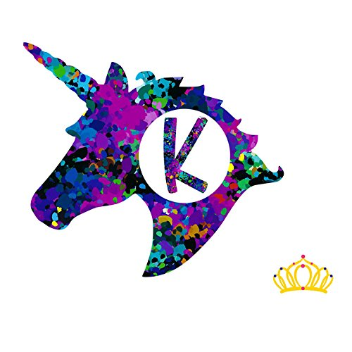 Letter K Monogram Unicorn Decal for Yeti Cup, Tumbler, Laptop, or Car - 3 inch height