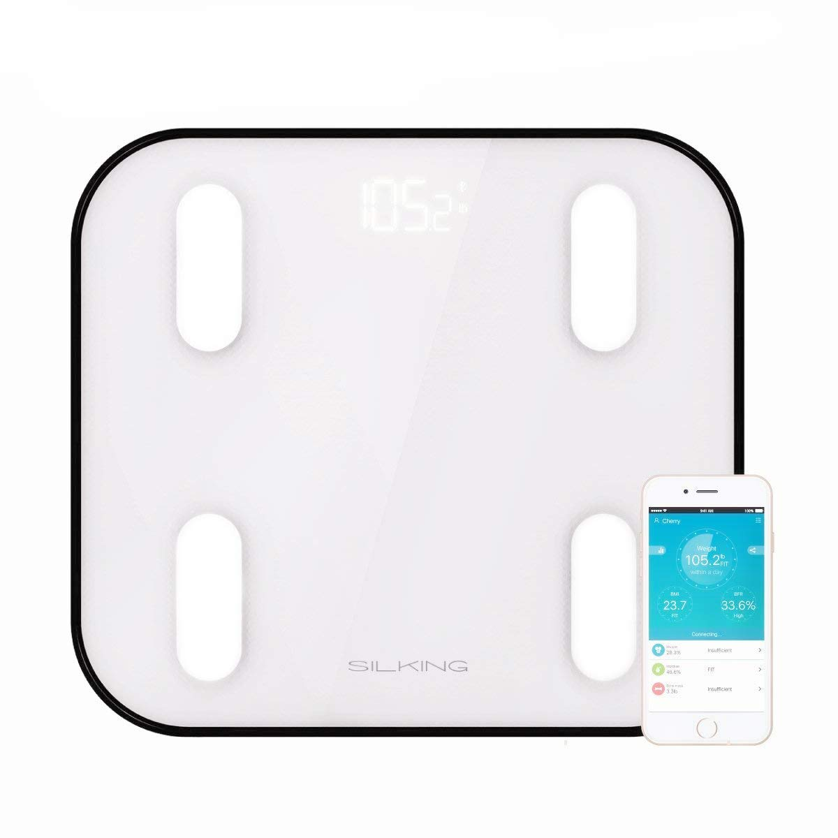 SILKING Digital Body Weight Bluetooth Fat Scale BMI Bathroom Glass with iOS & Android Free APP Monitor Accurate Body Composition Muscle Mass, BMR, Analyzer Calculator Up to 400lbs Backlight Display