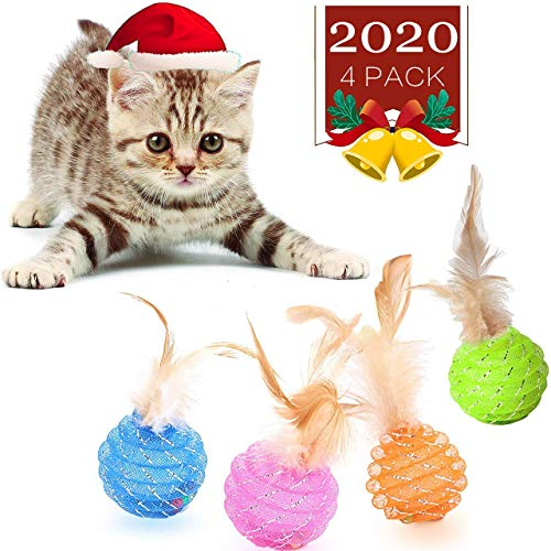 LZSOMPK Interactive Cat Ball Toys with Feather,Rolling Kitten Toys Brightly Colored Cat Toys with Bells 4 Pcs