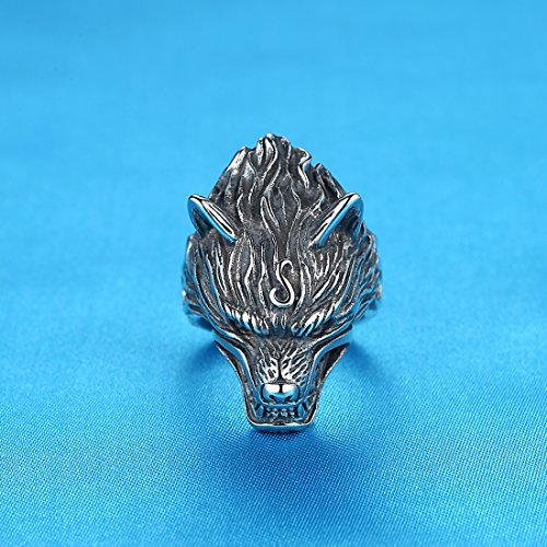 LineAve Men's Stainless Steel Wolf Biker Ring, Size 10, 8h5057s10 by LineAve (Image #1)