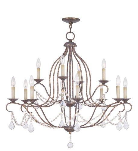 Livex Lighting 6438-71 Chesterfield 12 Light Chandelier, Hand Applied Venetian Golden Bronze