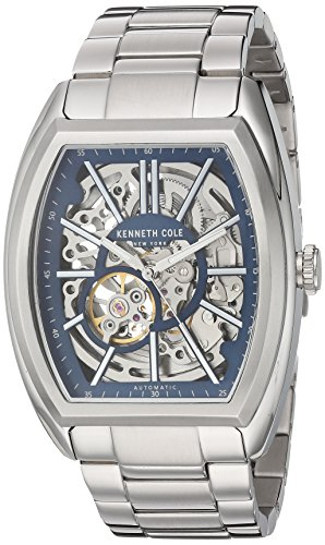 Kenneth Cole New York Silver Dial Watch - Kenneth Cole New York Men's Automatic-self-Wind Watch with Stainless-Steel Strap, Silver, 12 (Model: 10030812)
