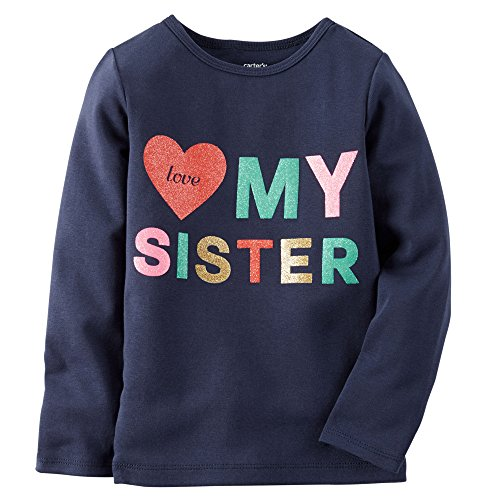 Carter's Big Girls' L/S Love My Sister Tee (7K, Navy)