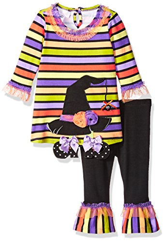 Bonnie Baby Baby Girls Holiday Dresses and Legging Sets, Striped Witch Heat, 0-3 Months