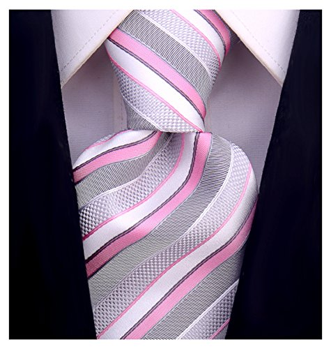 Striped Ties for Men - Woven Necktie - Pink by Scott Allan Collection (Image #6)