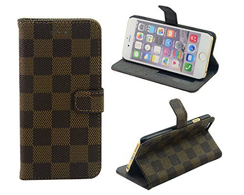 ELEOPTION(TM) LV Grid PU Leather Wallet Type Magnet Design Flip Case for Apple iPhone 6 Plus , Classical and Luxurious iPhone 6 Plus( 5.5 Inch ) Case