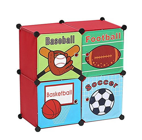 Sports Storage Box Toy Chest Organizer Bins, Kids Room Décor Cubes, Birthday Christmas Gifts (Baseball Toy Chest)