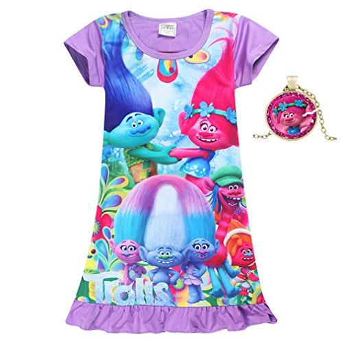 SZAMZ Trolls Girls Comfy Loose Fit Pajamas Printed Princess Dress (Purple,120/6-7Y)