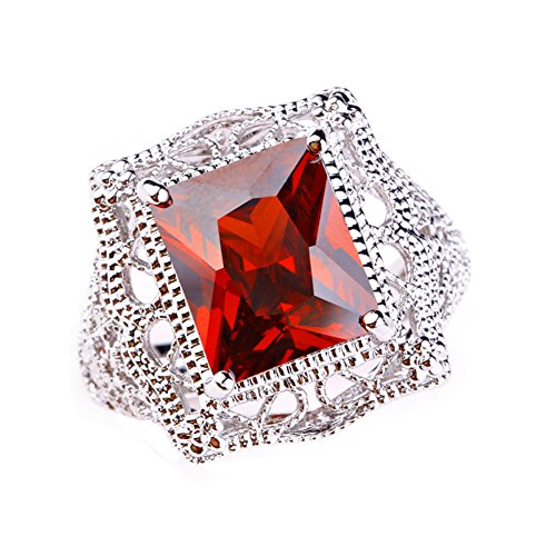 Psiroy 925 Sterling Silver Created Garnet Filled Filigree Art Deco Statement Ring Size 9 ()