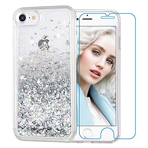 Maxdara iPhone 8 Case, iPhone 7 Glitter Liquid Women Case [Tempered Glass Screen Protector] Floating Bling Sparkle Luxury Pretty Protective Girls Case iPhone 6/6s/7/8 4.7 inch (Silver)