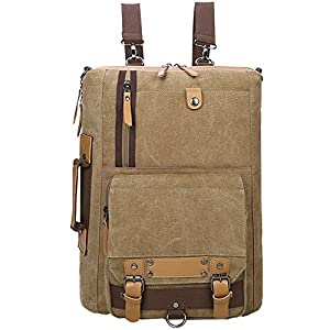 YingOnly Canvas Durable Backpack Rucksack Travel School Bag Fits 15 inch Laptop (Coffee-2)