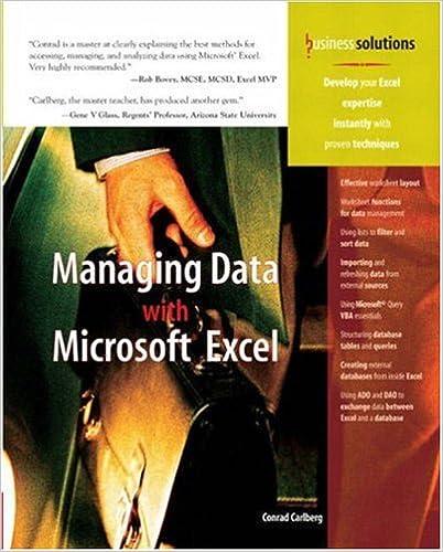 Managing Data with Excel: Conrad Carlberg: 9780789731005: Amazon ...