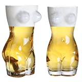 50 oz Clear Glass Naked Woman Novelty Beer Pint Glasses, Adult Humor Funny Bar Drinkware, Set of 2