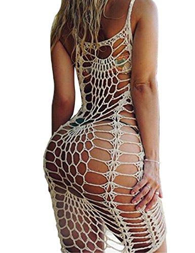 Shermie Women's Airy Crochet Lace Swimsuit Cover Ups Beige M