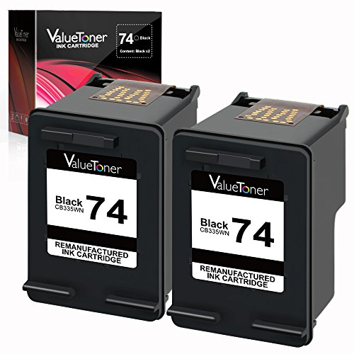 Valuetoner Remanufactured Ink Cartridge Replacement for HP 74 CZ069FN CB335WN (2 Black) 2 Pack (Hp 75 Black Ink)