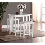 Roundhill 3-Piece Counter Height Dining Set with saddleback Stools, White