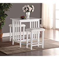 Roundhill Furniture 3-Piece Counter Height Dining Set with saddleback Stools, White