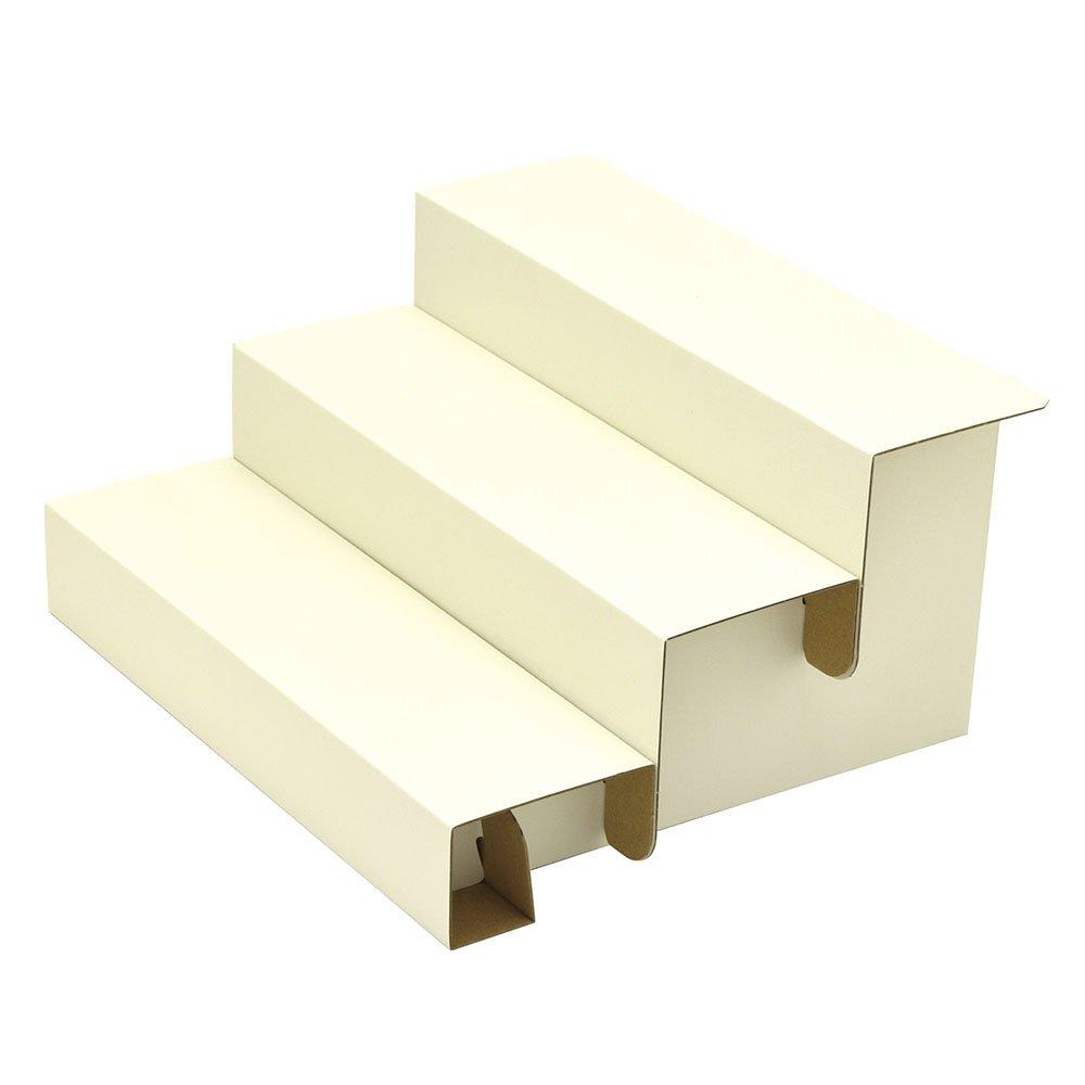 TAKA Knockdown Cardboard Risers 3 Step Display for Jewelry White W 11.58 in x D 10.04 in x H 5.91 in ( Made in Japan ) 44-5800 Sasagawa CO. Ltd