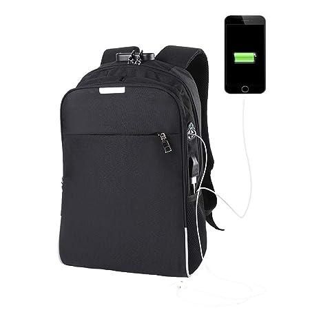 Mochila antirrobo, Mochila para Ordenador portátil de Negocios, con Puerto de Carga USB,