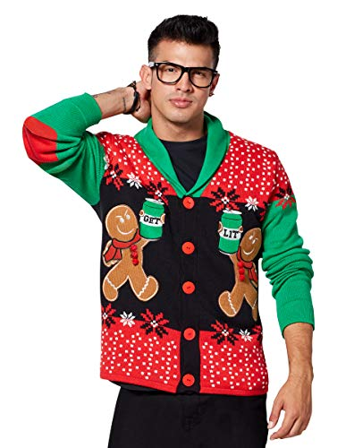 Angry Gingerbread Ugly Christmas Sweater Cardigan - XL