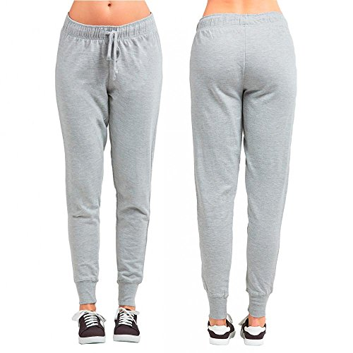 Women's Athletic Sweat Pants Joggers Running Exercise Sport Gym Walking Grey M by FMRSLHRVIB