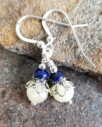 (Yellow Calcite and Blue Lapis Lazuli Earrings Bali Sterling Silver)