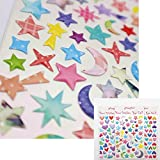 goodnight sleep tight chart - FineFun 135PCS Reward Chart Sticker Mini Stickers Valu Pack, Colorful Stars and Hearts decal