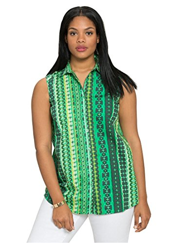 Bargain Catalog Outlet Roamans Plus Size Kate Sleeveless Shirt (Green Abstract Print,20 W) Abstract Button