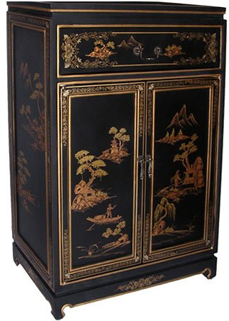 Painted Asian Cabinet - Oriental Furnishings Oriental Shoe Cabinet Painted Landscape on Antique Black Finish