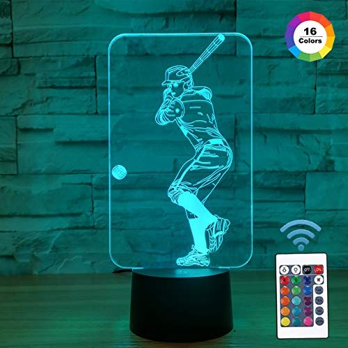 FULLOSUN Baseball 3D Night Light, Baseball Sport Gifts Bedside Lamp for Xmas Holiday Birthday Gifts for Kids Baseball Fan with Remote Control 16 Colors Changing + 4 Changing Mode + ()