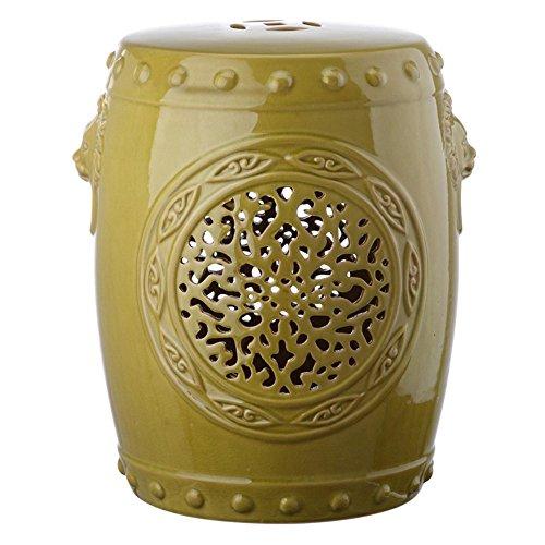 Safavieh Castle Gardens Collection Flower Drum Spring Green Glazed Ceramic Garden (Green Ceramic Stool)