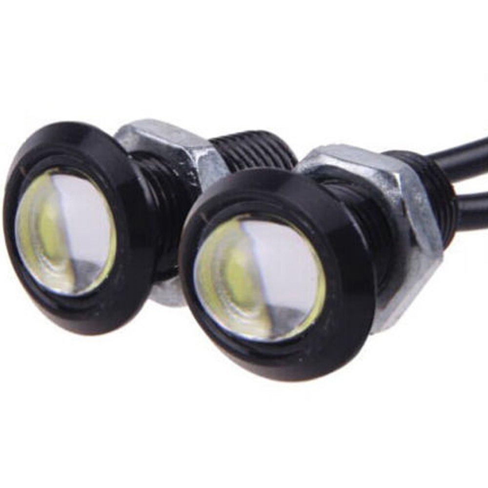 Qiorange 12V 9W Eagle Eye Lamp Led Car Light Bulbs Tail Car Motor Backup Light Fog Light white light Black 2-pack (2)