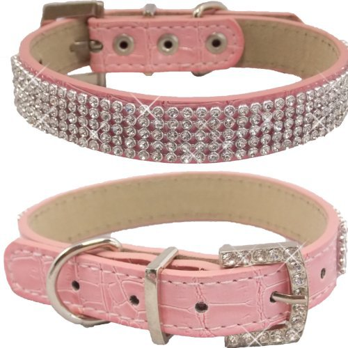 WwWSuppliers Crocodile PU Leather Bling Brilliant Sparkling Shine Flashy Rhinestones Adjustable Dog Puppy & Cat Luxury Cute Elegant Fashion Collar (Pink, Small)
