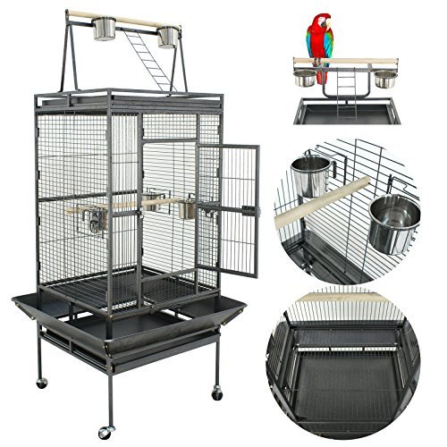 ZENY 68 Bird Cage Pet Play Top Wrought Iron Select Large Bird Cage, Parrot Macaw Cage Pet Supplies