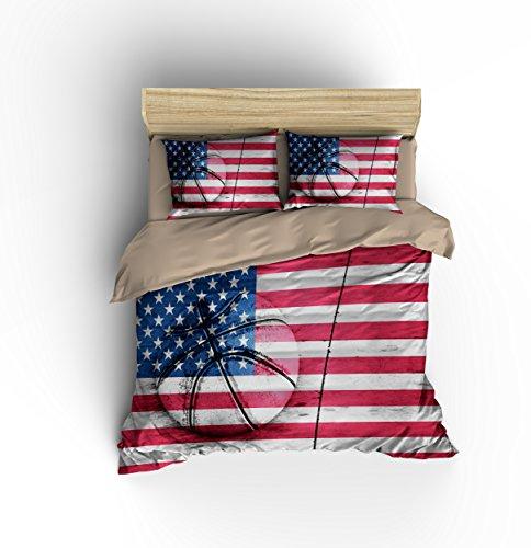Magnificent Patriotic American Flag Basketball Cotton Microfiber 3pc 90''x90'' Bedding Quilt Duvet Cover Sets 2 Pillow Cases Queen Size by DIY Duvetcover
