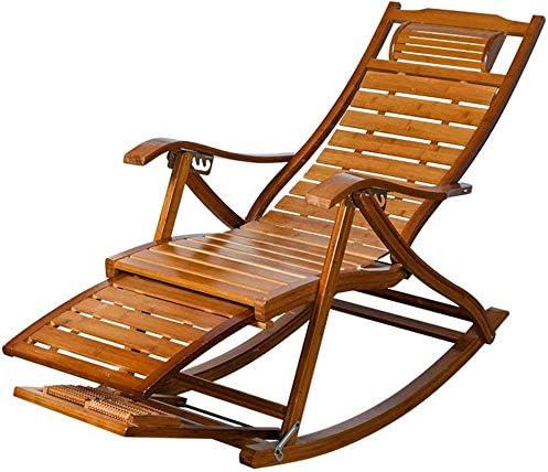 NO BRAND Tumbonas Jardin Bambú Mecedora de Madera Silla con el reposapiés telescópica y Masaje de pies, Patio Silla de la Cubierta de la Siesta Silla de jardín Solar Plegable, balcón: Amazon.es: