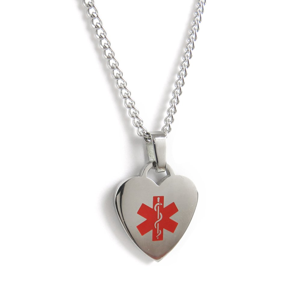 My Identity Doctor Pre-Engraved /& Customized Gastric Bypass Medical ID Heart Pendant Necklace Steel Made in USA