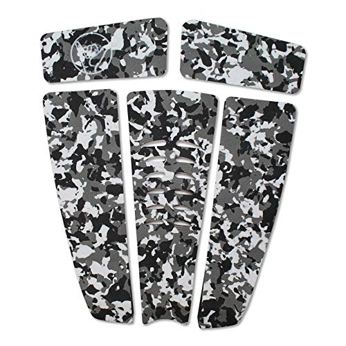SBBC - Surfboard Stomp Pad - || 5 Piece Stomp Pads || - Custom Fingerprint Texture, Long Lasting Traction Pads for Surfboard & Skimboards (Black White Camo - Shaka)