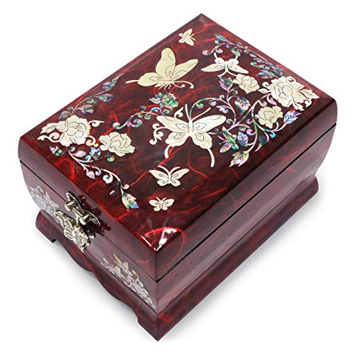 (Hand Made Jewelry Music Box Ring Organizer Mother of Pearl Sea Shell Inlaid Mirror Lid 2 Level Butterflies Floral Design (Red))