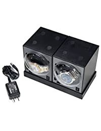 2 Boxy Brick Single Stackable Watch Winder with Power Supply Plate